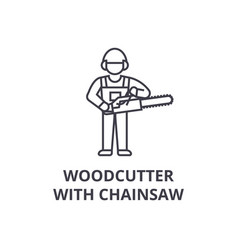 Woodcutter with chainsaw line icon sign vector
