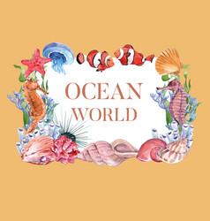 Wreath design with sea animal watercolor yellow vector