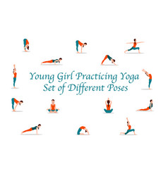 young girl practicing yoga set different poses vector image