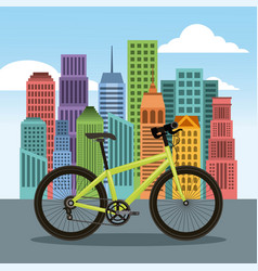 bike and city building town landscape vector image