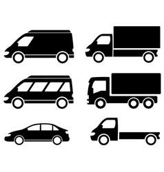 black set transport icons vector image vector image
