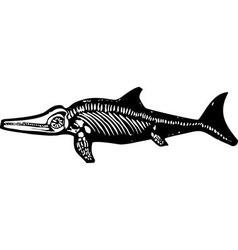 Ichthyosaur Dinosaur Fossil vector image vector image