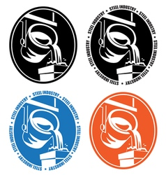 steel industry logo vector image vector image