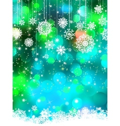 Abstract green blue winter with snowflakes EPS 8 vector image vector image