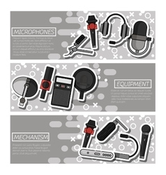 Banners about Different microphones types vector image vector image