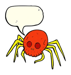 cartoon spooky halloween skull spider with speech vector image vector image