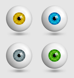 set of realistic eyes with different colors of vector image