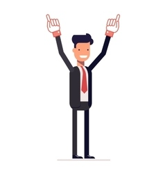 Smiling businessman or manager shows two hands up vector image vector image