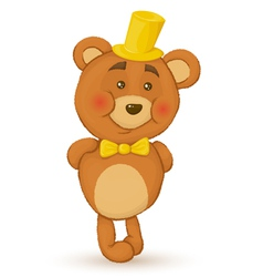 bear holds his hands behind his back bear with hat vector image