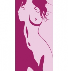 beautiful artwork nude woman silhouette vector image vector image