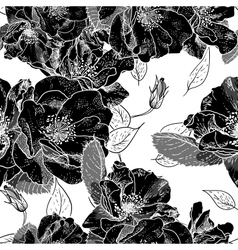 Beautiful Monochrome Seamless Floral Pattern vector image vector image