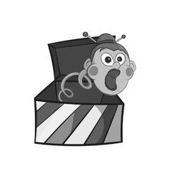 Box with jumping toy icon black monochrome style vector image vector image