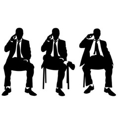 businessmen on chairs talking on the phone vector image vector image