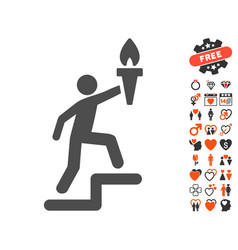 climbing leader with torch icon with lovely bonus vector image vector image