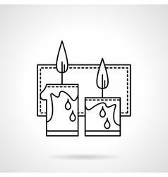 Festive candles black line icon vector image