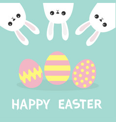 happy easter three bunny rabbit hanging upside vector image