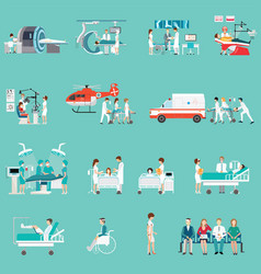 medical staff and patients different character in vector image vector image