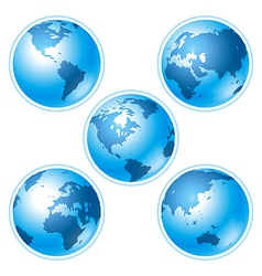 set of five globes vector image
