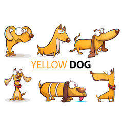 set yellow dog 2018 cartoon vector image