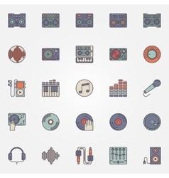Colorful DJ icons set vector image