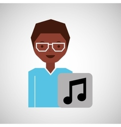 girl glasses icon music graphic vector image