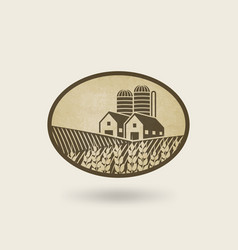 Oval label with the landscape farm in field vector
