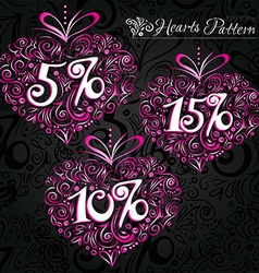 Pink heart pattern on black backround vector image