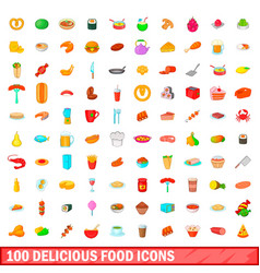 100 delicious food icons set cartoon style vector image