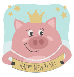 a cute pig is happy new year text vector image