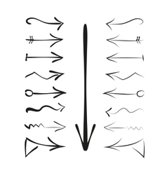 A set of hand drawn calligraphy arrows vector image