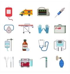Ambulance icons set vector