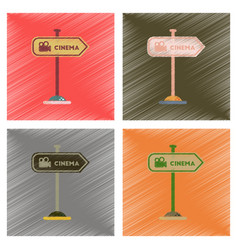 Assembly flat shading style icons cinema sign vector