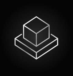 augmented reality cubes silver icon in thin vector image