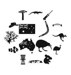 australia icons simple vector image