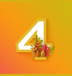 autumn four 4 number with forest leaves vector image