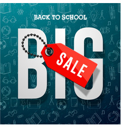 Back to school sale banner design for store vector