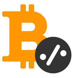 Bitcoin percent flat icon vector
