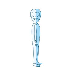 blue silhouette shading cartoon full body male vector image