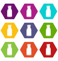 bottle shampoo icons set 9 vector image