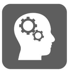 Brain Gears Flat Squared Icon vector