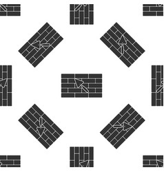 brick wall with trowel icon seamless pattern on vector image