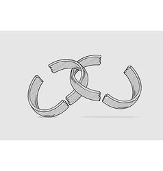broken ring divorce vector image
