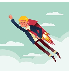businessman flying with rocket backpack cartoon vector image