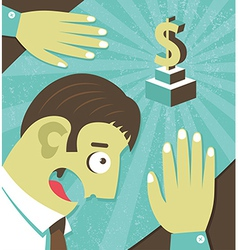 Businessman possessed by money greed vector image