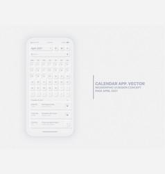 Calendar app april 2021 ui ux neumorphic design vector