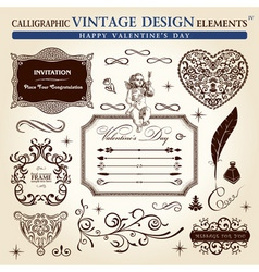 calligraphic elements vintage ornament set happy v vector image