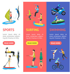 cartoon extreme sports people banner vecrtical set vector image
