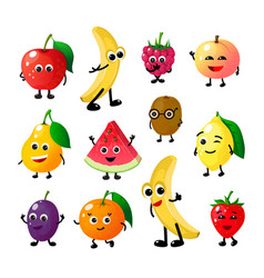 cartoon funny fruits happy apple banana raspberry vector image