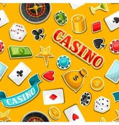 Casino gambling seamless pattern with game sticker vector