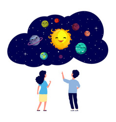 children exploring planets astronomy lesson kids vector image